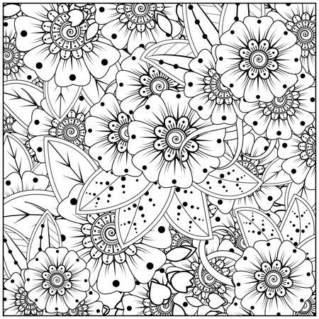 梅恩迪手绘方形花风格.装饰东方民族风格的装饰品