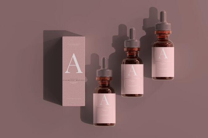 琥珀玻璃滴管瓶与箱模型