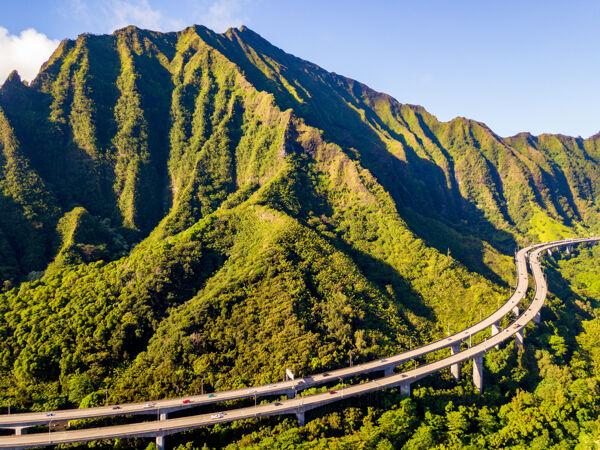 夏威夷瓦胡岛夸罗阿牧场的空中拍摄