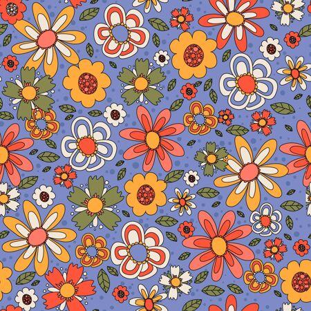 五颜六色的花卉图案手绘